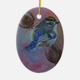 Birds  Golden-crowned Kinglet Ceramic Oval Ornament