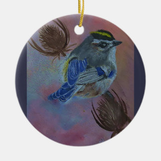 Birds  Golden-crowned Kinglet Round Ceramic Ornament