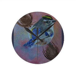 Birds  Golden-crowned Kinglet Round Clock