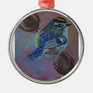 Birds  Golden-crowned Kinglet Silver-Colored Round Ornament