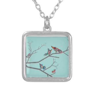 Birds in a Tree Silver Plated Necklace