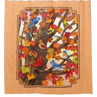 Birds in Autumn Maple Tree Peach