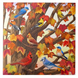 Birds in Autumn Maple Tree Tiles