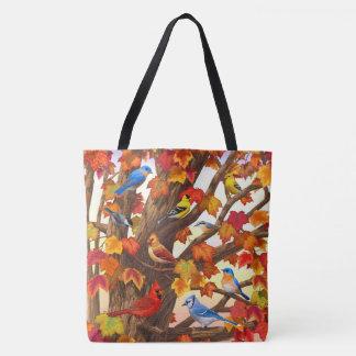 Birds in Autumn Maple Tree Tote Bag