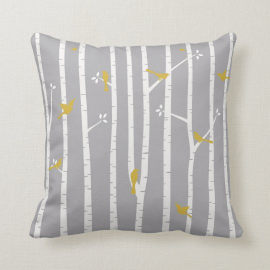 Birds in Birch Trees Grey White Yellow Throw Pillow