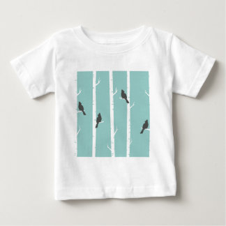 Birds In Birch Trees (turquoise) Baby T-Shirt
