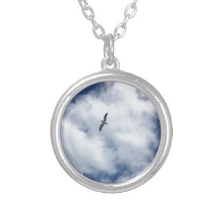 Birds in Clouds Silver Plated Necklace