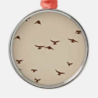 Birds In Flight vintage sepia Metal Ornament