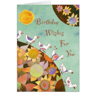 Birds in Flower Land: Birthday Card