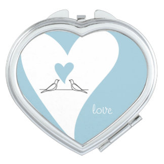 Birds In Love Light Blue Rustic Modern Wedding Mirror For Makeup