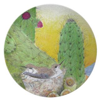 Birds in the desert plate