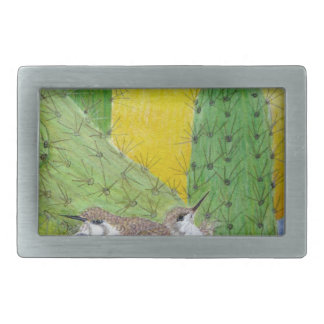 Birds in the desert rectangular belt buckle