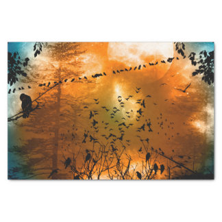 Birds in the sunset with moon tissue paper