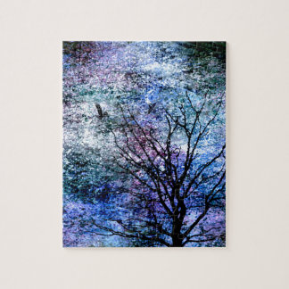 Birds in the Tree in Sparkling Sky Jigsaw Puzzle