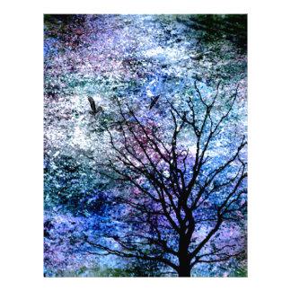 Birds in the Tree in Sparkling Sky Letterhead