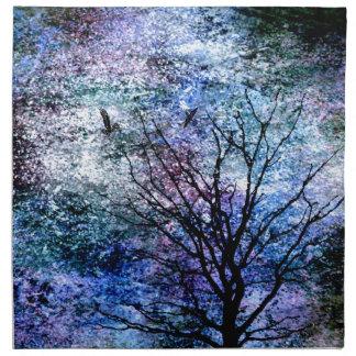 Birds in the Tree in Sparkling Sky Napkin