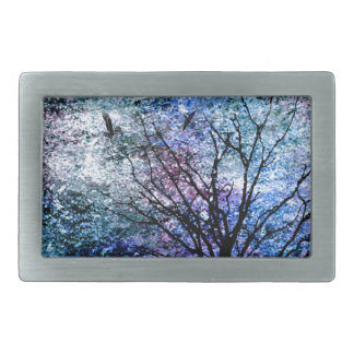 Birds in the Tree in Sparkling Sky Rectangular Belt Buckles