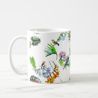 BIRDS IN THE TRPOICAL GARDEN , FLOWERS AND PLANTS COFFEE MUG