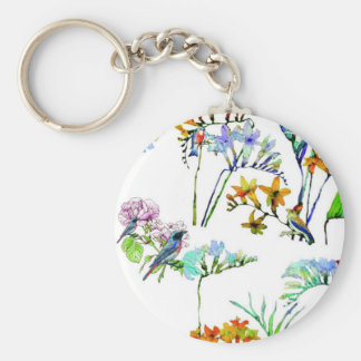 BIRDS IN THE TRPOICAL GARDEN , FLOWERS AND PLANTS KEYCHAIN