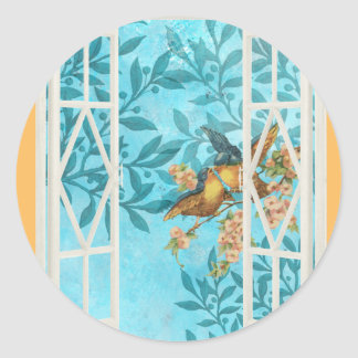 Birds in the Window Classic Round Sticker