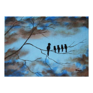 Birds In Tree In Sky Mother's Day Abstract Art Poster