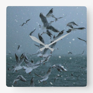 Birds Leaves Nature Water Blue White Wall Clock