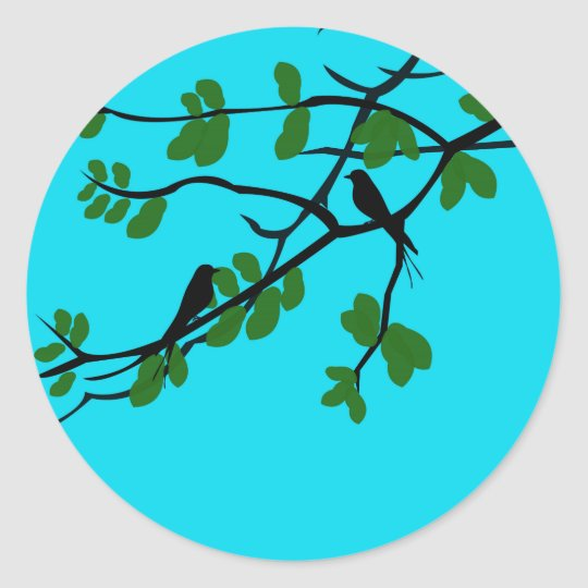 Birds_leaves_tree_blue_design Classic Round Sticker