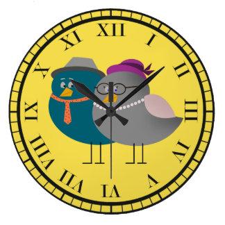Birds Love Couple Retro Funny Hipster Cartoon Chic Large Clock