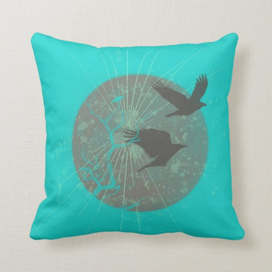 Birds & Moon Graphic Design Throw Pillow