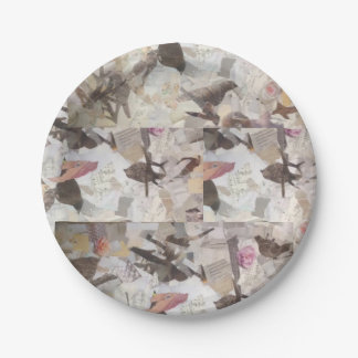 Birds & Music Paper Collage paper plate 7 Inch Paper Plate