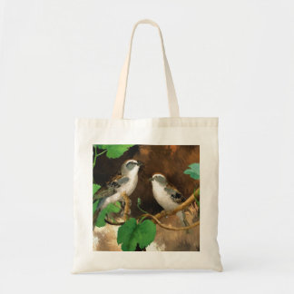 Birds Nature Abstract Painting Tote Bag