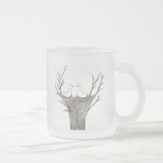 Birds nest 10 oz frosted glass coffee mug