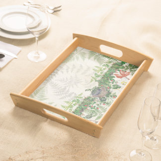 Birds Nest Ferns Vines Flowers Serving Tray