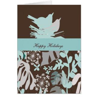 Bird's Nest Floral Holiday Season Card