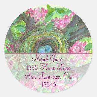 Birds Nest Spring Flower Watercolor Return Address Classic Round Sticker