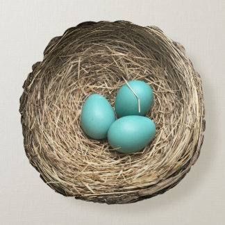 Birds Nest with Blue Eggs Round Pillow