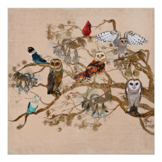 BIRDS OF A FEATHER BRANCH Poster