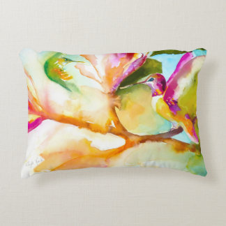 Birds of Paradise Hummingbird Print Decorative Pillow