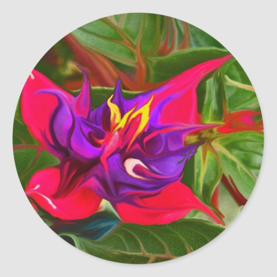 Birds Of Paradise Paint Pink Classic Round Sticker