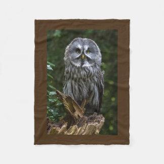 Birds of prey Great grey owl photograph Fleece Blanket