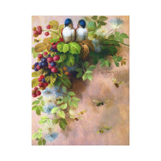 Birds on a Berry Vine Canvas Print