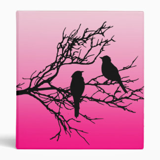 Birds on a Branch, Black Against Dawn Pink 3 Ring Binders