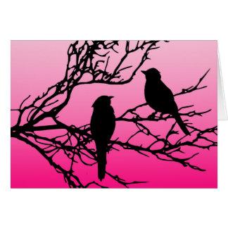 Birds on a Branch, Black Against Dawn Pink Card