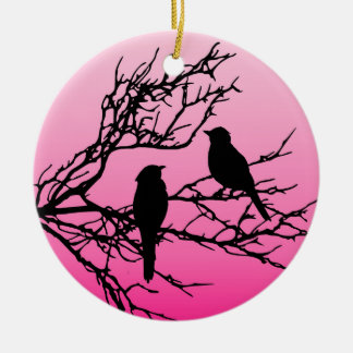 Birds on a Branch, Black Against Dawn Pink Ceramic Ornament