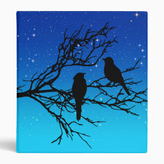 Birds on a Branch, Black Against Evening Blue 3 Ring Binders