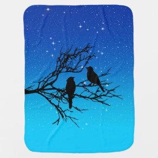 Birds on a Branch, Black Against Evening Blue Baby Blanket