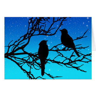 Birds on a Branch, Black Against Evening Blue Card