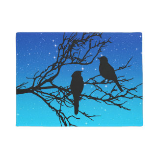 Birds on a Branch, Black Against Evening Blue Doormat