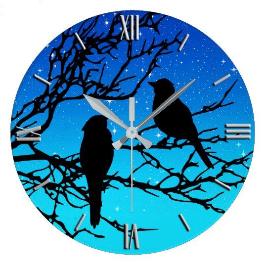 Birds on a Branch, Black Against Evening Blue Wallclock