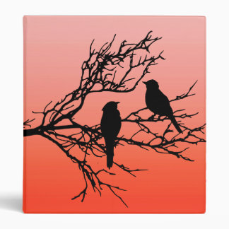Birds on a Branch, Black Against Sunset Orange Binder
